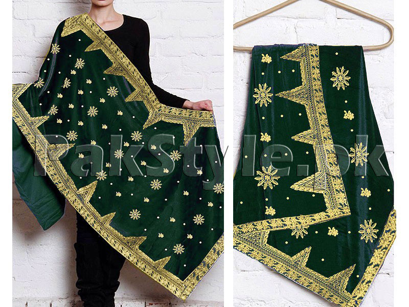 Embroidered Bridal Velvet Shawl - Green