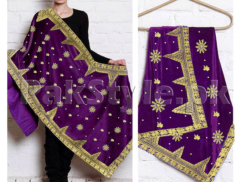 Embroidered Bridal Velvet Shawl - Purple