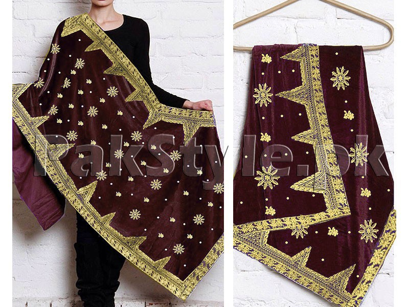 Heavy Embroidered Bridal Velvet Shawl - Maroon