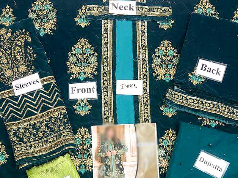 Heavy Embroidered Green Velvet Wedding Dress in Pakistan