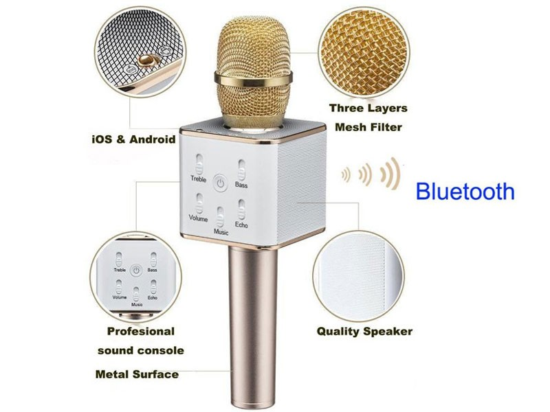 Wireless Microphone with Speaker & Bluetooth Condenser Mic