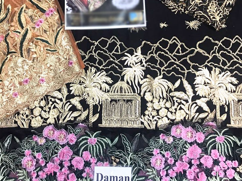 Embroidered Black Chiffon Suit with Net Dupatta in Pakistan