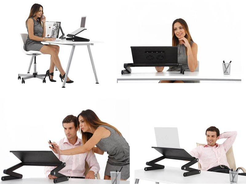 Multifunctional Laptop Table with Cooling Pad