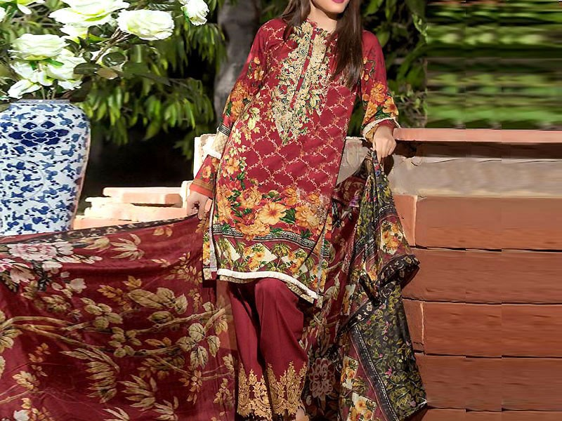 Embroidered Maroon Lawn Suit with Net Dupatta