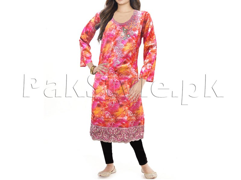 Multicolor Embroidered Cotton Kurti with Tights
