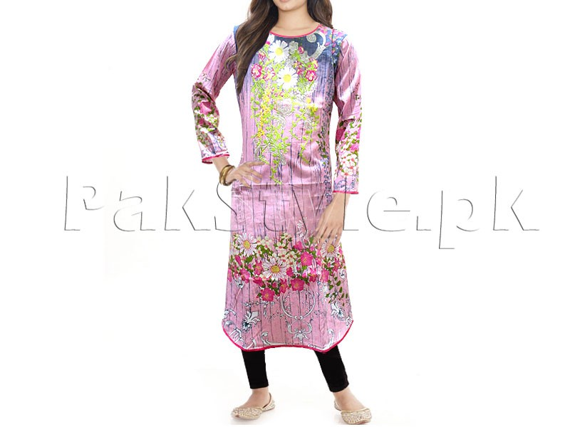 Blue Applique Work Ready-to-Wear Cotton Kurti Price in Pakistan