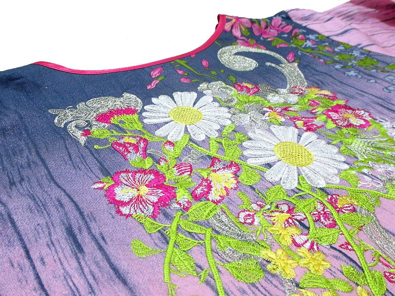 Multicolor Embroidered Cotton Frock