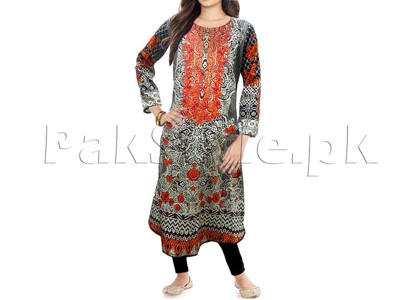 Multicolor Embroidered Cotton Frock with Tights