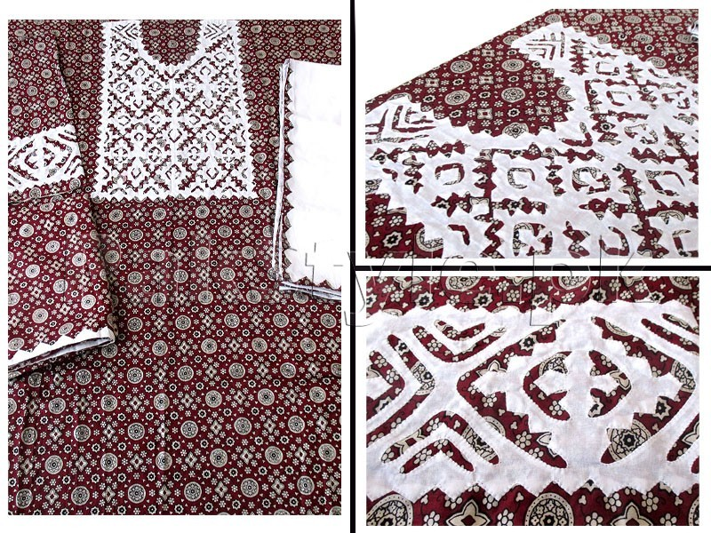 Sindhi Cultural Ajrak Design Applique Work Lawn Dress 3-Pieces