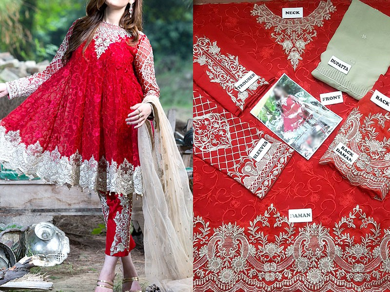 Trendy Embroidered Red Chiffon Dress