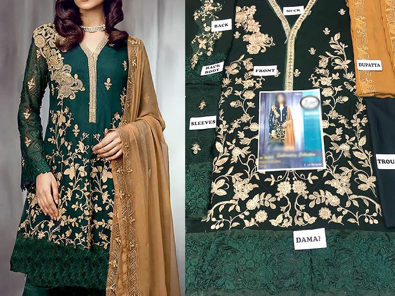 Designer Embroidered Green Chiffon Dress