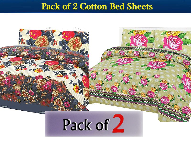 Pack of 2 Polyester Cotton Bed Sheets of Your Choice