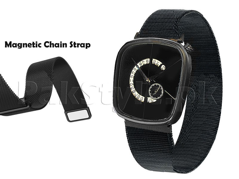 Men's Down Second Magnetic Chain Watch - Black