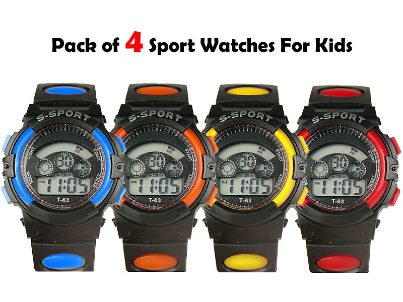 Pack of 4 Kids Sports Watches