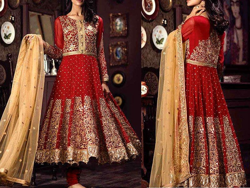 Heavy Embroidered Chiffon Frock with Net Dupatta