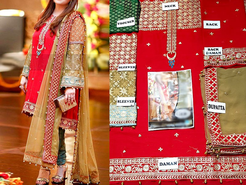 Embroidered Red Chiffon Suit with Jamawar Trouser