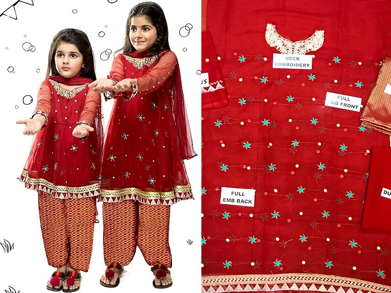 Embroidered Chiffon Red Dress For Kids