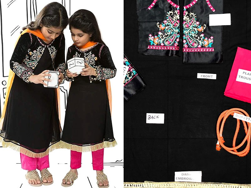 Embroidered Black Chiffon Suit For Girls