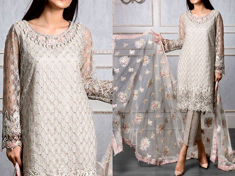 Heavy embroidered net dress with jamawar trouser price in