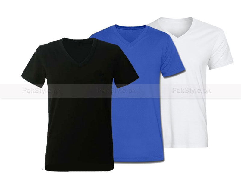3 V-Neck Half Sleeves T-Shirts Price in Pakistan