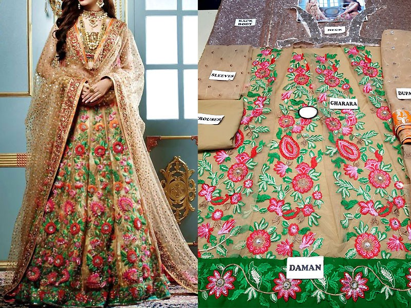 Embroidered Skin Net Lehenga Dress