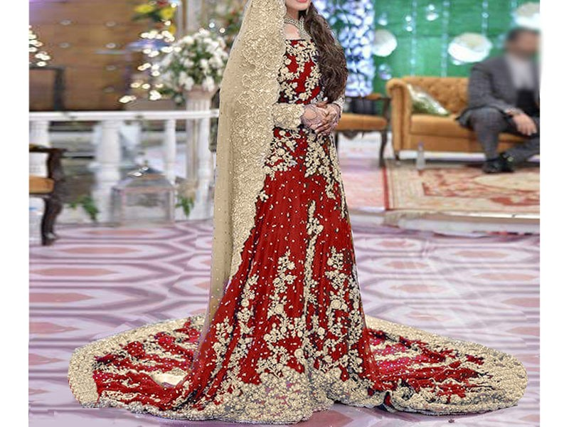 Heavy Embroidered Red Chiffon Bridal Maxi Dress Price In