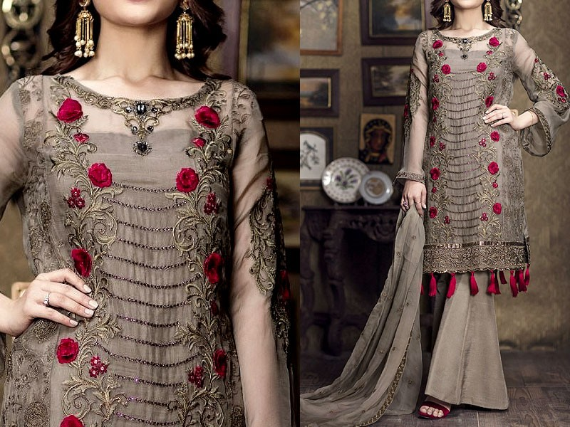 Designer Embroidered Chiffon Dress
