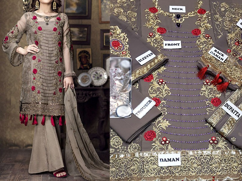 Designer Embroidered Chiffon Dress with Chiffon Dupatta
