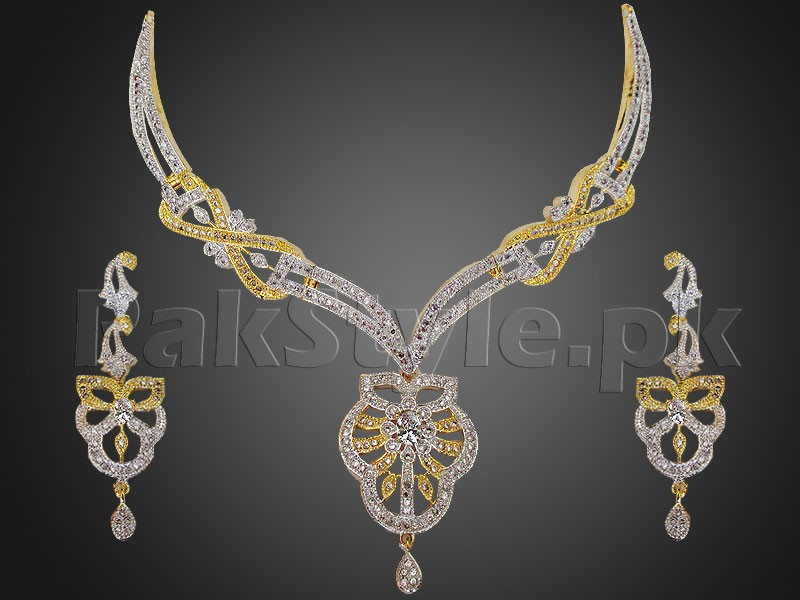 Elegant AD Stone Necklace with Earrings