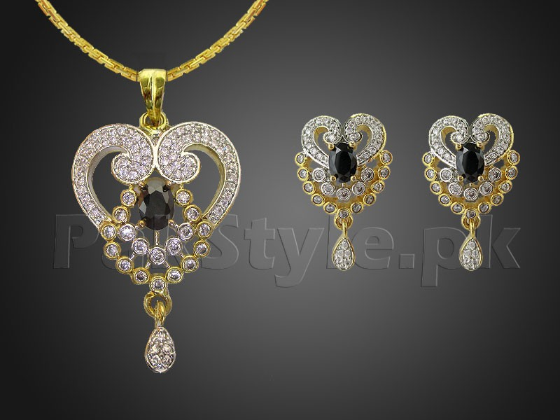 Heart Design AD Stone Pendant Jewelry Set