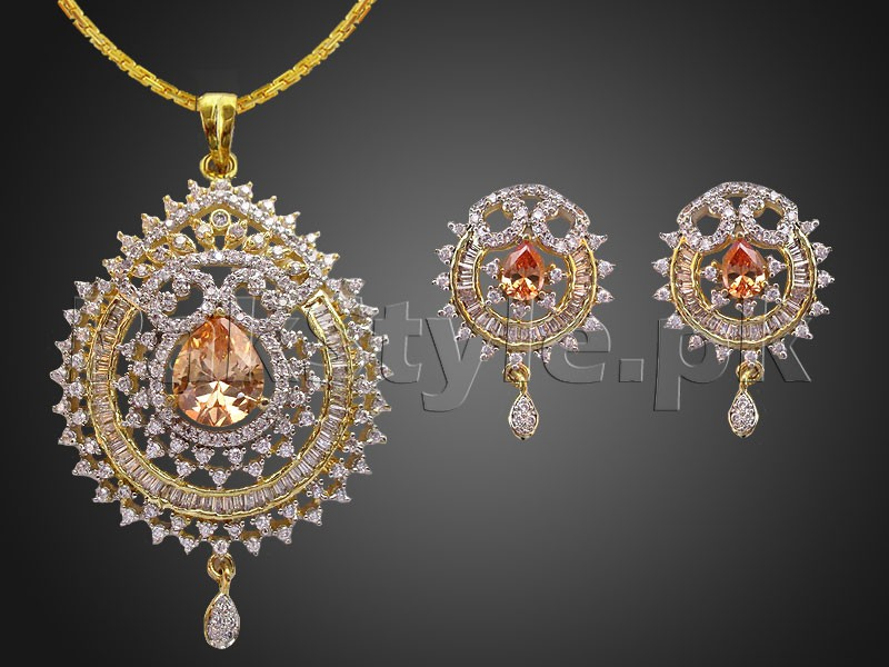 Elegant ad stone pendant jewelry set price in pakistan for Elegant stone