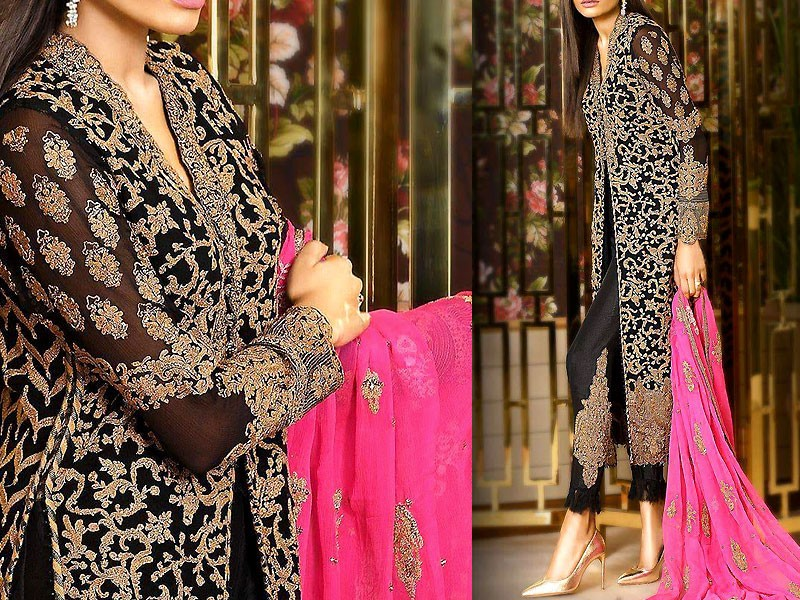 Heavy Dori Work Embroidered Black Chiffon Dress