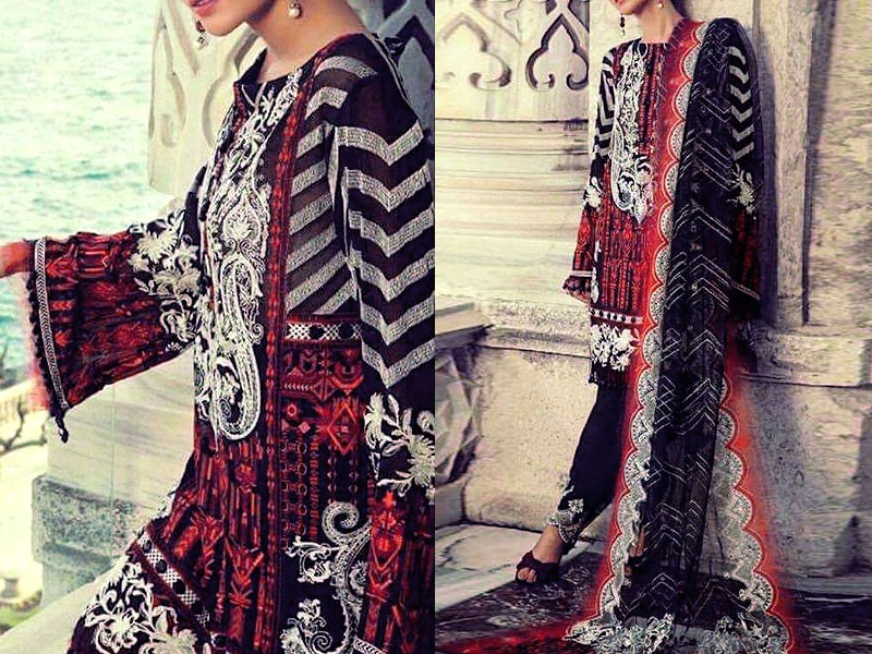 Embroidered Lawn Suit with Lawn Net Dupatta