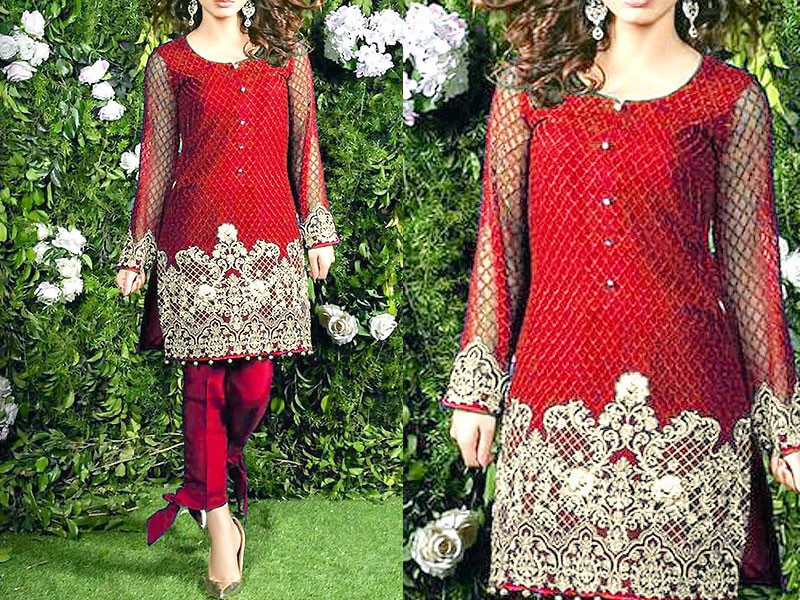 800ce94769 2 Pieces Unstitched Embroidered Chiffon Kurti Price in Pakistan ...