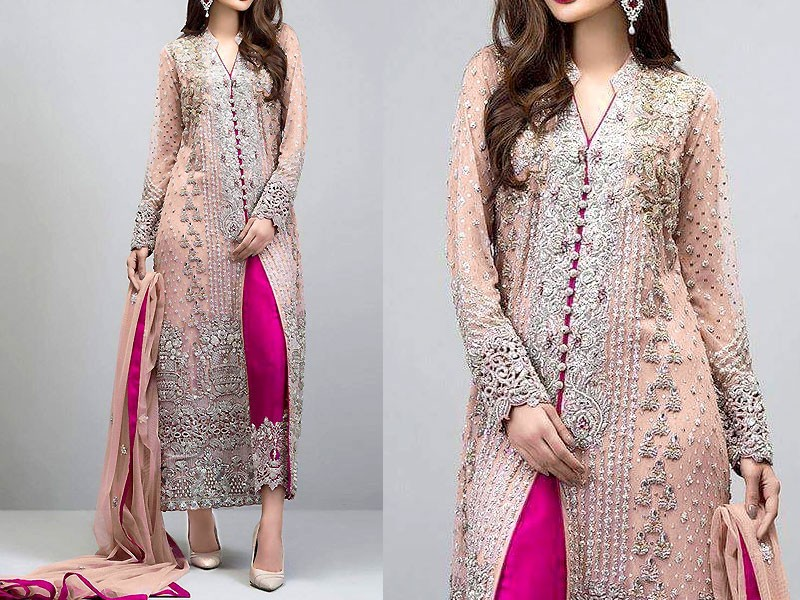 Heavy Embroidered Peach Chiffon Dress Price In Pakistan