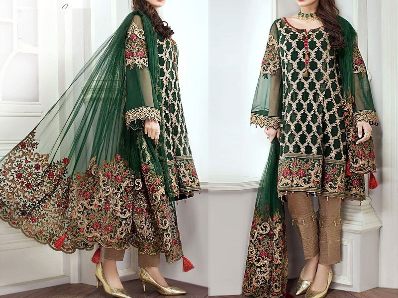 Chiffon Embroidered Bridal Lehenga Price in Pakistan