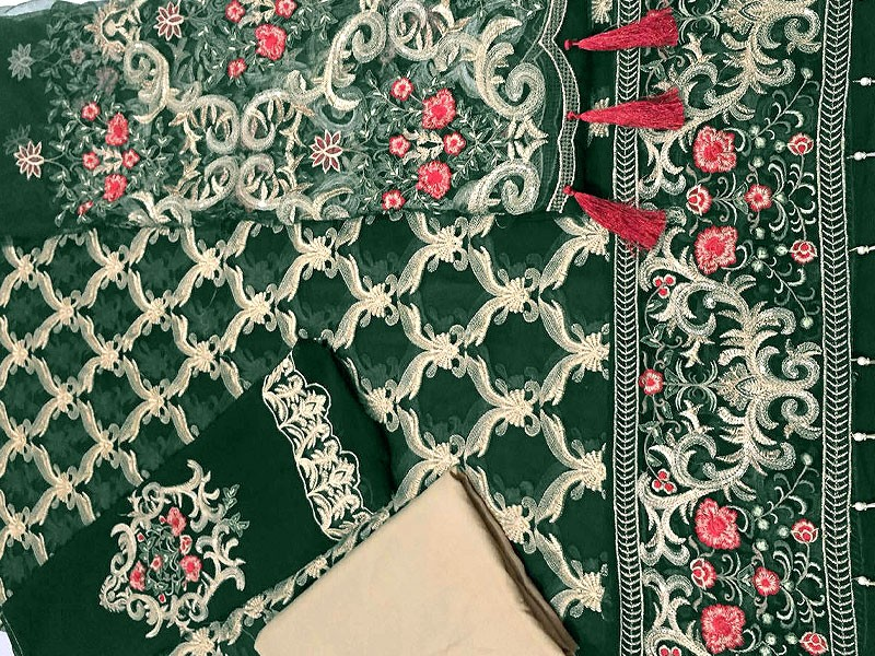 Embroidered Green Chiffon Suit with Net Dupatta