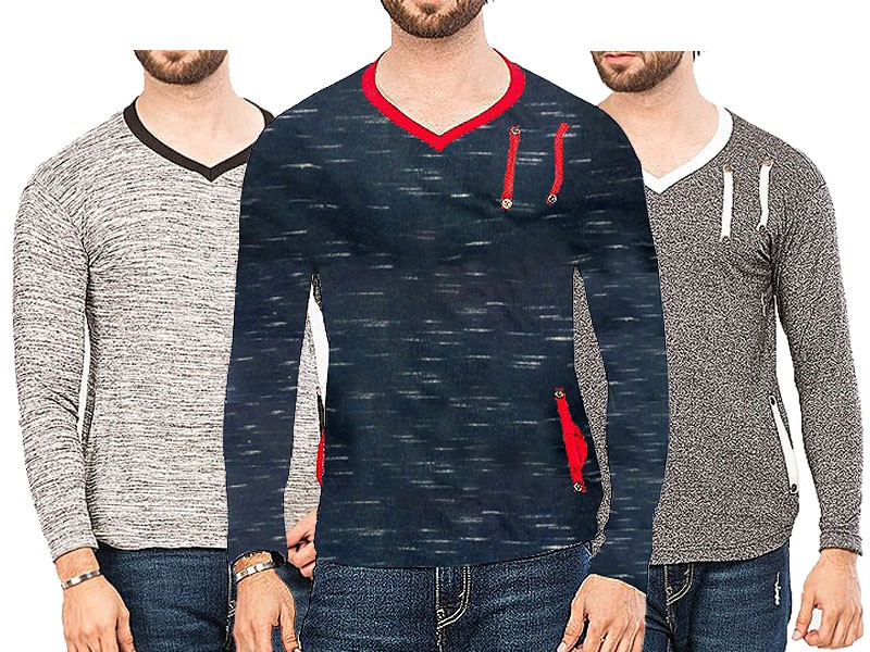 Pack of 3 V-Neck Full Sleeves T-Shirts