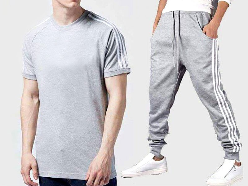 Combo of 2 Men's T-Shirt with Trouser - Grey