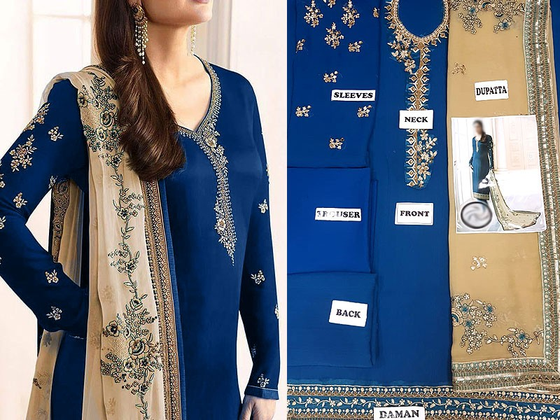 Indian Embroidered Navy Blue Chiffon Dress