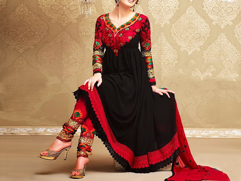 Indian Embroidered Black Chiffon Frock