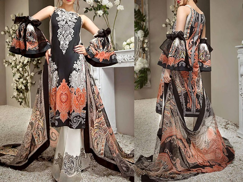 Sale: Embroidered Chiffon Bridal Suit with Net Dupatta Price in Pakistan