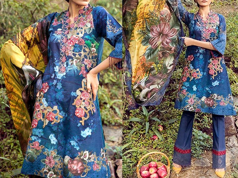 Embroidered Green Lawn Suit with Net Dupatta Price in Pakistan