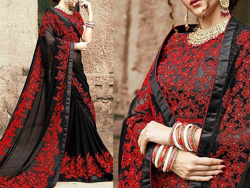 Indian Embroidered Black Chiffon Saree