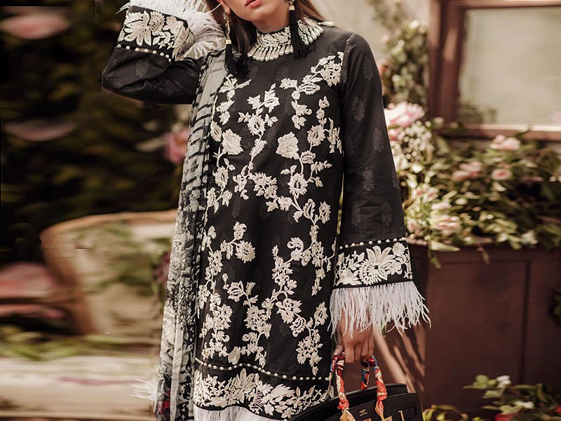 Heavy Embroidered Lawn Suit with Printed Net Dupatta