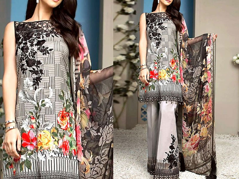 31d798528c54 Embroidered Lawn Dress with Chiffon Dupatta Price in Pakistan ...