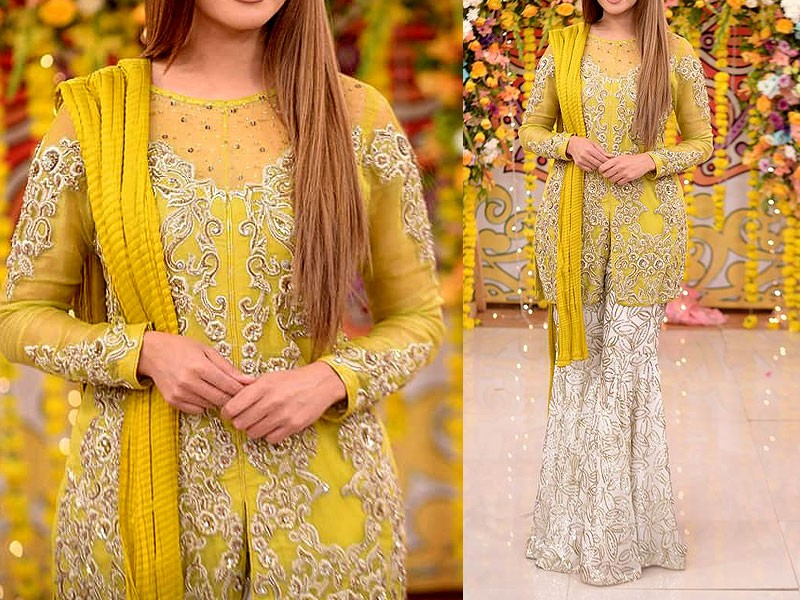 Mehndi Dresses : Embroidered yellow chiffon mehndi dress price in pakistan