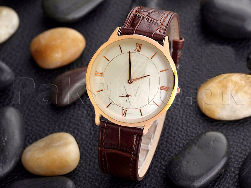 Mens Down Second Leather Strap Watch
