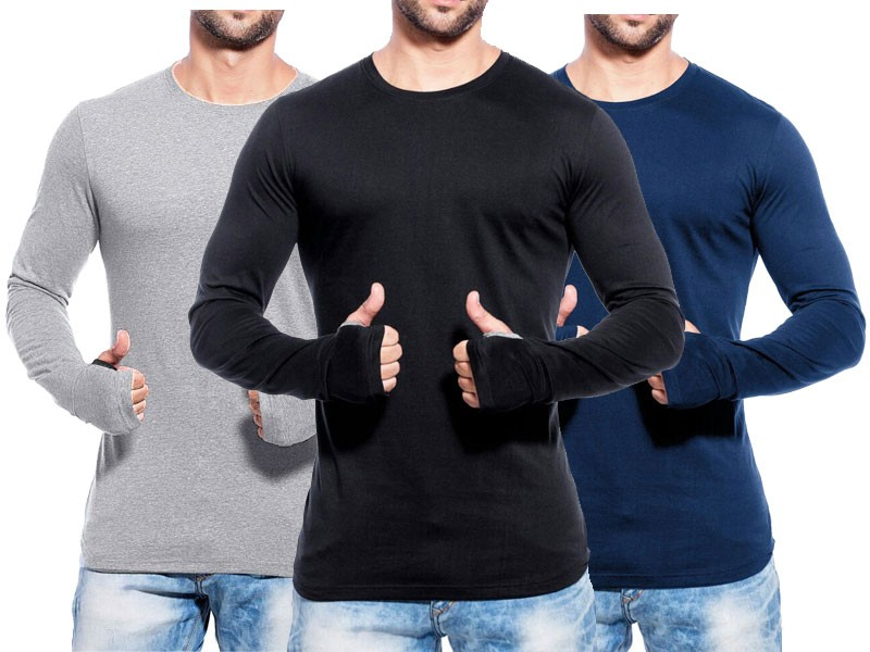 Pack of 3 Round Neck Full Sleeves T-Shirts
