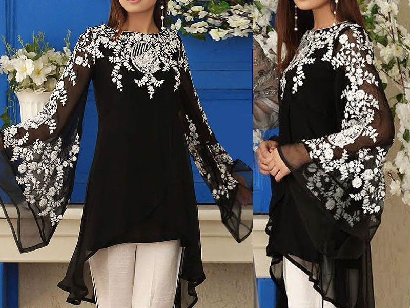 Unstitched Embroidered Chiffon Black Kurti with Inner